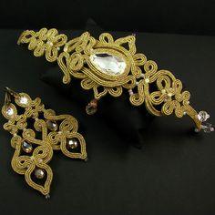 Bridal soutache long earrings bracelet wedding dress jewelry set golden crystal…