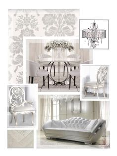 Baroque inspired Dining Room. Silver and white colour scheme, damask pattern feature wall, all furniture pieces quite plain, although I have kept to the traditional curved/rounded shapes of baroque furniture. Glass dining table chosen to emphasise all silverware on table as this is my main focal point in the design.