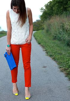 white lace top with red pants is nice too.