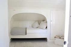 Cute bed nook in a Norwegian summer house.