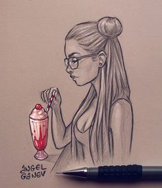 [orginial_title] – KaylinArt 'Milkshake'~ 😍✨ Pencil sketch with some added color 😊 . I see al… 'Milkshake'~ 😍✨ Pencil sketch with some added color 😊 . I see all these paintings and subculture of cute drinks and snacks and I wanted to… Girl Drawing Sketches, Girly Drawings, Art Drawings Sketches Simple, Pencil Art Drawings, Cartoon Drawings, Easy Drawings, Cartoon Art, Pencil Sketching, Realistic Drawings