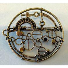 #buyitnow > Jorma Laine (FI), modernist industrial bronze vintage necklace with an intricate machine-like design, 1970s. #jormalaine #finland | finlandjewelry.com