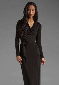 HAUTE HIPPIE Long Sleeve Cowl Gown with Self Belt in Black... This is SO my style. Such a classic & timeless look. Love this dress!!!