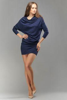 Italian wool mini dress, high quality wool tunic, jersey tunic, kimono style dress, little black dress, jersey mini dress by OlenaMolchanova