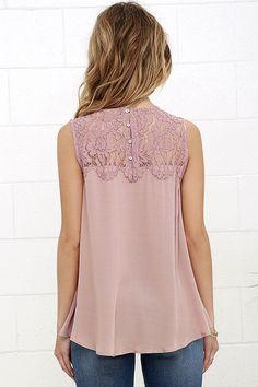 Place in the Sun Mauve Lace Top 4 Blouse Styles, Blouse Designs, Lace Tops, Chiffon Tops, Lace Insert, Blouses For Women, Ideias Fashion, Fashion Outfits, Clothes
