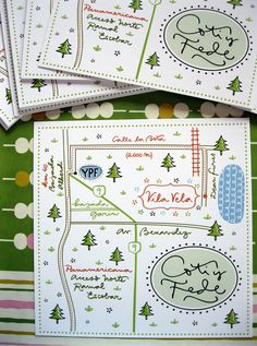 Illustrations & lettering for wedding cards & map