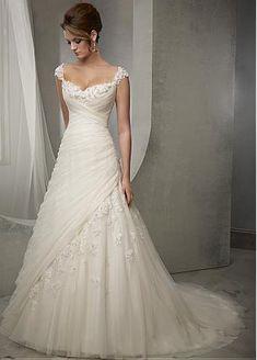 comprar Elegante Tulle escote cuadrado cintura natural Vestido de novia A-line con abalorios apliques de encaje de descuento en Dressilyme.com