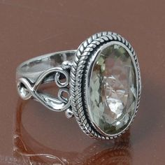 GREEN AMETHYST 925 STERLING SILVER RING JEWELRY 5.63g DJR7000 SIZE 6 #Handmade #Ring