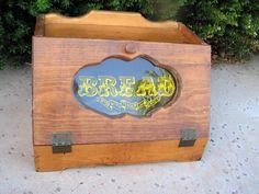Wooden Bread Box Primitive Country Farmhouse by retrosideshow