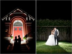 Dramatic and creative night portraits of bride and groom at Indy wedding
