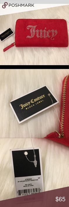 Juicy Couture BLack Label Red Zip Around Wallet Juicy Couture BLack Label Red Zip Around Wallet Luxe Velour Material $198.00 NWT  Please check out my page for other items for sale.   Thank you for stopping by! Juicy Couture Other