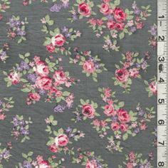 Charcoal Grey Floral Lawn