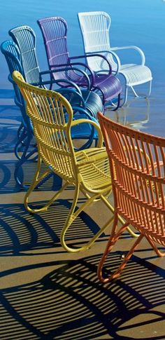 Colorful Summer Dock Deck Patio Chairs Summertime Brights Outdoor Seating Decor