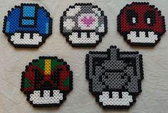 Mario mushroom perler beads (Mega Man, Portal, Deadpool, Judge Dredd and Cyberman) by GeekofMine