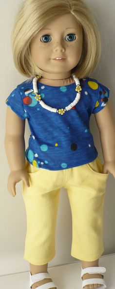 American Girl 18 inch doll clothes -  yellow skinny jeans-style capris, knit t-shirt and necklace. via Etsy.