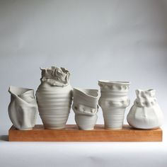 """You don't want a piece that's perfect, says Frances Palmer of Frances Palmer Pottery -    I respect the wabi sabi, or artful imperfection, of the medium. It has led to some of my most wonderful pieces. One of my pottery heroes, George Ohr, also subscribed to this technique of letting slumped and misshapen pots transform into a work of beauty. The wabi sabi infuses the piece with soul. It's what differentiates the handmade pot from a commercially cast piece."""""""