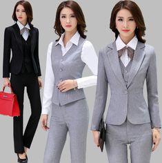Günstige Och Qualität frauen anzug set Büro damen arbeitskleidung frauen hose anzüge formale weiblichen Blaser jacke + vest+ hose 3 stück, Kaufe Qualität Pant Anzüge direkt vom China-Lieferanten:
