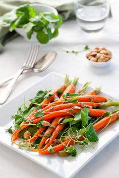 Carrot and Watercress Salad with Orange Blossom Water  | gourmandeinthekitchen.com