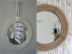 Wandspiegel mit dickem Tau Seil umrahmt