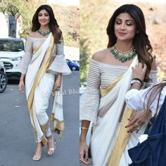 Giving saree such brilliant twist today on the sets of Indian Wedding Outfits, Indian Outfits, Saree Gown, Dhoti Saree, Silk Sarees, Saree Jacket Designs, Indian Attire, Indian Wear, Stylish Blouse Design