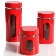 Java Bar Set of 3 Glass Canister Set- Red