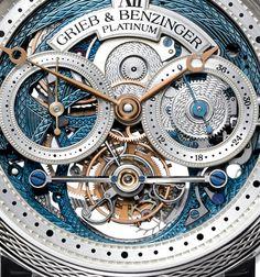 Grieb & Benzinger BLUE MERIT platinum watch dial detail