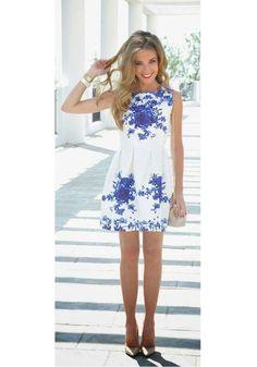 White Print Round Neck Sleeveless Acrylic Floral Dress