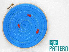 Relaxing Hand Embroidery Pattern, Mindfulness Craft Project, Fish Pond Hoop Art, DIY Embroidery Pattern, Anti-stress Needlework PDF Pattern.