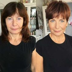 Brown Pixie With Bangs For Older Ladies frisuren feines haar vorher nachher 9 Hair Stylist's Tips for Looking Younger Trendy Haircut, Haircut For Older Women, Haircut Short, Short Bangs, Older Women Long Hair, Older Women With Tattoos, Pixie Pony, Edgy Pixie Haircuts, Shaggy Pixie Cuts