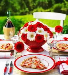 White and red colors, national symbols and creative craft ideas help bring the Canada Day spirit into Canadian homes and design unique and beautiful holiday table decorations and centerpieces