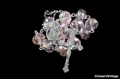 Auto Rosary Pocket Pink Glass Bead Rondelles 1 by JessesVintage