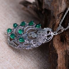 GQTORCH Real Pure 925 Sterling Silver Peacock Natural Gemstone Pendants For Women Inlaid Green Chalcedony Marcasite. Click visit to buy #FineJewelryPendant #Jewelry #Pendant