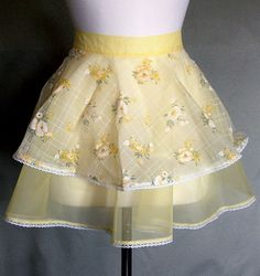 Delicate pale yellow hostess apron