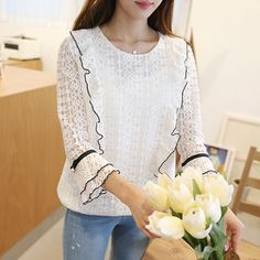 Buy CLICK Round-Neck Faux-Pearl Beaded Lace Blouse at YesStyle.com! Quality products at remarkable prices. FREE Worldwide Shipping available!