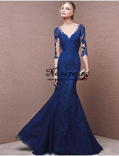 robe de bal 2017 new long sleeve lac royal blue prom dress long paragraph sexy mermaid gown graduation high-quality custom Milan