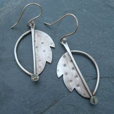 Dangle Earrings Stamped sterling Silver Leaf Autumn Fall by artdi