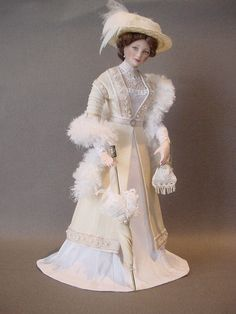 EDWARDIAN LADY WITH FEATHER BOA - Dollshouse doll by Debbie Dixon-Paver