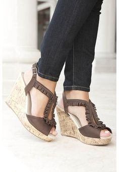 I love the Ruffle front style on these sandals.