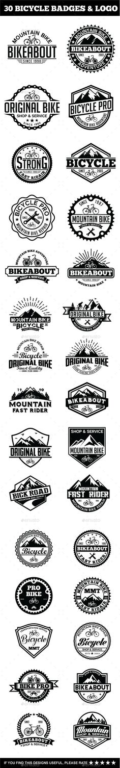 30 Bicycle Badges & Stickers Bundle #vector #eps #extreme #bike badges • Available here → https://graphicriver.net/item/30-bicycle-badges-stickers-bundle/15286327?ref=pxcr