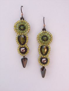 Olive Khaki Green Tiered Circle Seed Bead Woven Earrings, Hand Made, One of a Kind, OOAK
