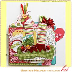 PaisleysandPolkaDots.com Santa's Little Helper Mini Scrapbook Holiday Album Kit complete with instructions,  featured at www.scrapclubs.com