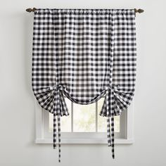 Buffalo Check Tie-Up Window Shade | Brylane Home Black White Curtains, White Kitchen Curtains, Rustic Curtains, Bathroom Curtains, Plaid Bedroom, Dining Room Drapes, Buffalo Check Curtains, Small Farmhouse Kitchen, Off White Kitchens