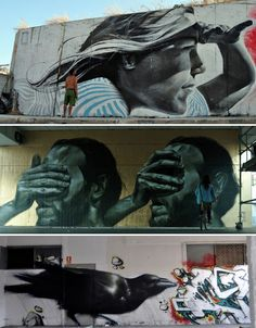 ARS URBANITAS URBANITATIS - photorealistic street art by artists like Smug One, CASE, Mesa and MTO blend realism with stylized elements for creative results...