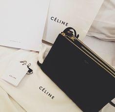 LUXURY BRANDS   black shoulder belt bag Cèline.   www.bocadolobo.com