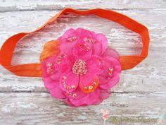 Hot Pink and Orange Flower Headband Layered by TheFairyFactoryShop