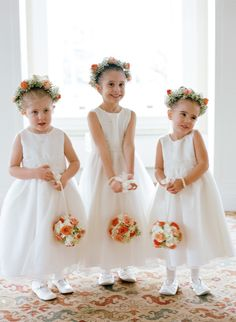 Flower Girls -- too too adorable! See the wedding here: http://www.StyleMePretty.com/2014/05/19/elegant-otesaga-resort-wedding/ CarolineYoonPhotography.com