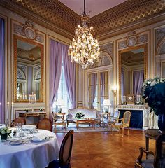Hotel de Crillon in Paris, a favorite with high stylers from Jackie Kennedy to Urma Thurman, features voluminous floor-to-ceiling lavender curtains and 18th-century French antiques upholstered in lilac-and-gold silk brocade.