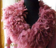 WILD PINK FLEECE artistic felt scarf-collar (neck-piece) of natural wool locks by Svetlana Kosova - LanAArt