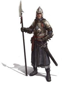 Warrior holding a glaive-guisarme type of polearm. (City guard captain by Windmaker.deviantart.com on @deviantART)