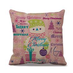 Cotton linen Snowman pattern cushion cover